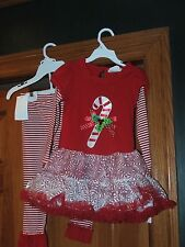 RARE TOO Girls Sz 4 2-Piece Christmas Candy Cane Top & Pants ~ NWT msrp $46