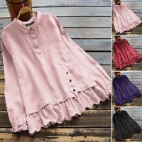 ZANZEA Women Casual Button Up Shirt Tee Lace Top Vintage Retro Plus Size Blouse