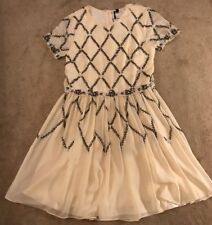 Topshop Beaded Floaty Dress Nude / Peach Uk Size 6 Sparkly Glam New RRP £85