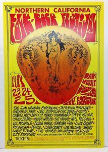 JIMI HENDRIX Northern California Folk-Rock Festival Concert Poster LED ZEPPELIN