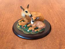 Living Stone Deer w/ Fawn FIGURINE ANIMAL sculpture figures