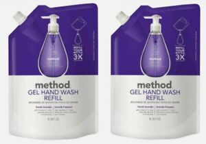 2 Method Gel Hand Soap French Lavender Wash Refill Naturally Derived 34 oz each
