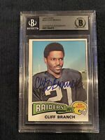 1975 Topps Cliff Branch Signed Rookie Card Raiders Beckett Authenticated