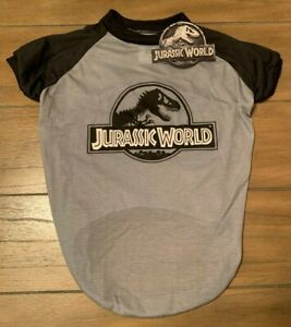 JURASSIC WORLD Dog Shirt - LARGE - Gray/Black Logo Tee - Dinosaurs - Park - NWT
