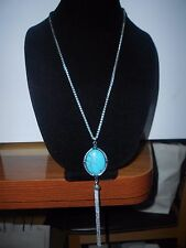 LUCKY BRAND AUTH.,NWT,SILVER TONE, TURQUOISE SEMIPRECIOUS,TASSEL LONG NECKLACE.