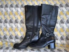 M & S Black Leather Knee High Boots Size 5 Insolia