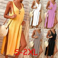 Women's Ladies Solid Sleeveless Casual Mid Claf Dress Split Summer Dress