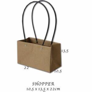 10X Busta Shopper in carta avana con manici in plastica 10.5X13.5X22 cm 0OW1