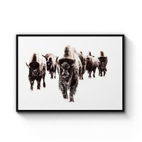 BISON ART PRINT Winter Warrior by Terry Isaac Wildlife Buffalo Poster 29.5x37