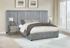 Glamorous Grey Velvet Tufted Queen Panel Bed 2 Velvet Wall Panels Furniture Sale