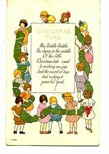 Children in Circle-Large Garland-Christmas Wishes Holiday Greeting Postcard
