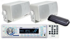 "*KIT* Pyle Marine Audio AM/FM USB/SD AUX Receiver w/2  3.5"" 200W Speakers, Cover"