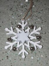 White Painted Wood Snowflake Christmas Decoration with Silver Bells 10cm x 10cm