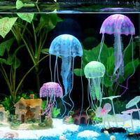 2×FLOATING JELLYFISH Glowing Effect Aquarium Jelly Fish Tank Ornament Decoration