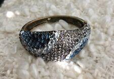 Vintage Copper Brass Rhinestone Bracelet Hinge Handpainted Flower