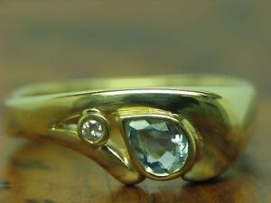 14kt 585 Yellow Gold Ring With Brilliant & 0,80ct Synth,Aquamarine Trim / Rg