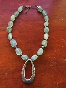 Silpada Oxidized Hammered Sterling 925 & Green Prehnite Necklace N1806 Retired