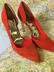 Ted Baker Cut Out Detail Suede Stiletto Court Shoe Orange UK 6 BNWOB