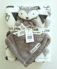 Chick Pea Fox Security Blanket + White Gray Triangles Fleece Lovey Rn 100364 New