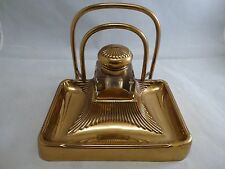 VINTAGE ART NOUVEAU DECO BRASS INKWELL GLASS INSERT GOLDTONE LETTER HOLDER