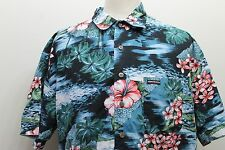 Point Zero Hawaiian Shirt Floral Aloha Tropical Men Shirt 100% Cotton XL Polo