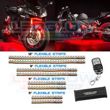LEDGLOW 8pc RED LED FLEXIBLE MOTORCYCLE UNDER GLOW BIKE LIGHTS KIT