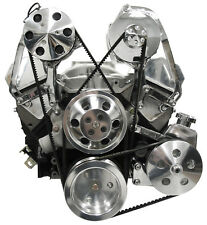 SWS SBC POLISHED FRONT ENGINE KIT,POWER STEERING PUMP,A/C,ALTERNATOR,55-57 CHEVY
