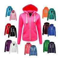 New Ladies Hoody Jacket Womens Plain Colour Zip Up Hoodie Hooded Sweatshirt Tops