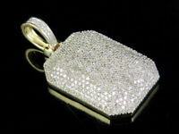 0.75Ct 14K Yellow Gold Over Ice Out Diamond Dogtag Pandent