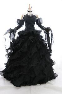 a-010 Schwarz Victorian Gothic Cosplay Kostüm Braut-Kleid Hochzeit Abendkleid
