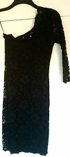 New JANE NORMAN Black Lace One Sleeve Party Dress Size: 10