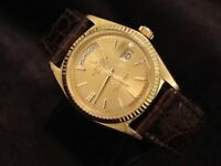 Mens Rolex Day-Date President 18K Yellow Gold Watch Brown Strap Champagne 1803