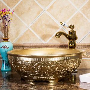 Bathroom Round Golden Paint Art Basin Wash Basin Washbasin Mixer Tap+Drain Set