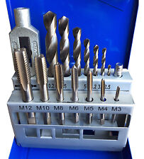 METRIC Coarse Tap and Drill Set M3 M4 M5 M6 M8 M10 M12 Boxed Kit Taps Tapwrench