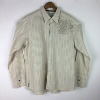 Quicksilver Men's Size Large Shirt Button Front Long Sleeve Beige Ivory