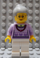 LEGO Town Female Older Woman Grandmother Lavender Top Red Neckless Gray Hair