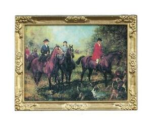 Dolls House Victorian Hunting Scene Picture Painting Gold Framed 1:12 Miniature