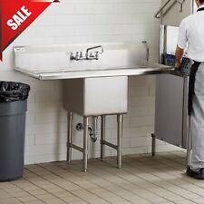 """1 Compartment Stainless Steel Commercial Kitchen Nsf Sink with 2 Drainboards 54"""""""