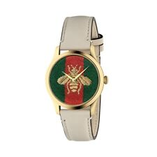 b1d6ebbc785 New Gucci G-Timeless Yellow Gold-Tone Leather Strap Women s Watch YA1264128
