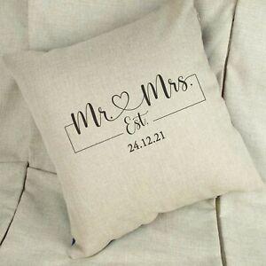 Mr & Mrs Heart Linen / White Cushion Anniversary Wedding Gift Personalised Date
