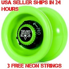 Green Velocity Yo Yo From The YoYo Factory Plus 3 Extra Neon Strings YEL/ORG/GRN