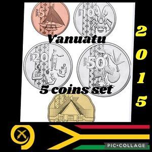 Vanuatu 🇻🇺Islands 5x Coins Set 2015 UNC F/bags 5/10/20/50/100 Vatu Animals