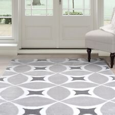 Lavish Home Abstract Geometric Area Rug Gray and White 3 x 5 Feet Carpet