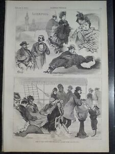 Ocean Liner Life Liverpool to New York Print Harper's Weekly 1874