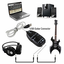 """Guitar To USB Interface Link Audio Cable Adapter Instrument 1/4"""" TS Guitar Input"""