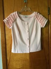 Fever Pink Soft Knit Ruffled Short Sleeve Blouse Top M