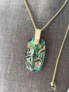 New Kendra Scott Inez Gold Abalone Shell Pendant Necklace