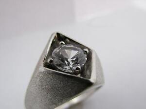 14k Solid White Gold White Sapphire  Gemstone Men's Ring 1970's Circa