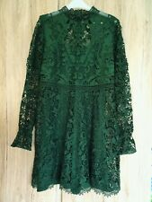 Zara Splendido Verde Guipure Maniche Lunghe Mini Abito Taglia M