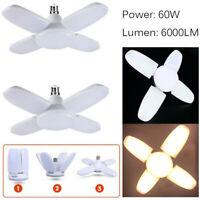 60W B22 Deformable LED Garage Light Fan Blade Angle Adjustable Ceiling Lamp